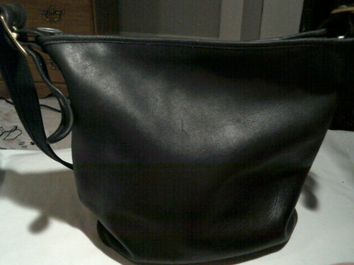 Vintage Black Leather Hobo Sack - Nice!