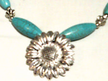 9' Turquoise & Silver Tone Tubular Chain Necklace - New!