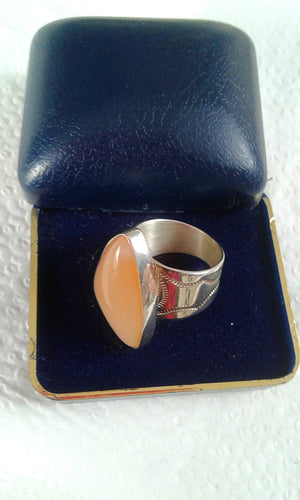 .925 Artisan Sterling Silver and Genuine Rose Quartz Art Deco Ring - S/6.5