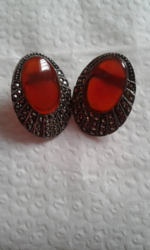 .925 Sterling Silver & Marcasite Earrings w/Coral Inlay