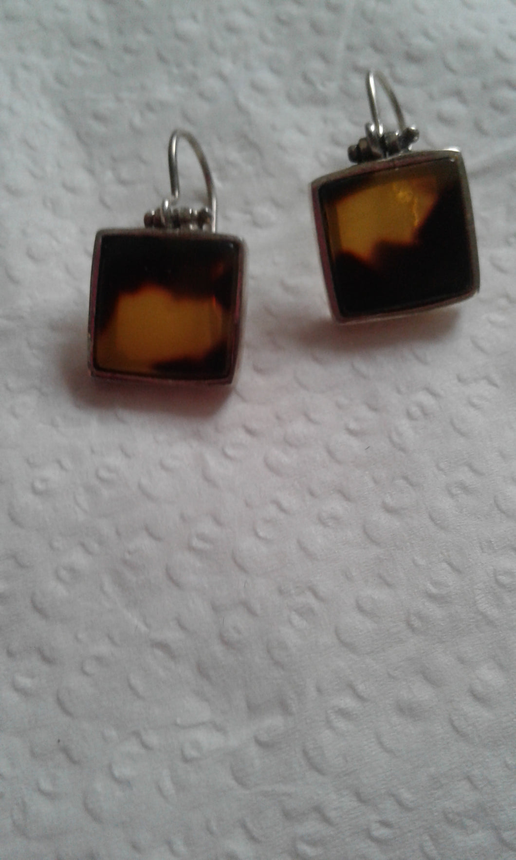 Artisan .925 Sterling Silver and Tiger Eye Dangle Earrings