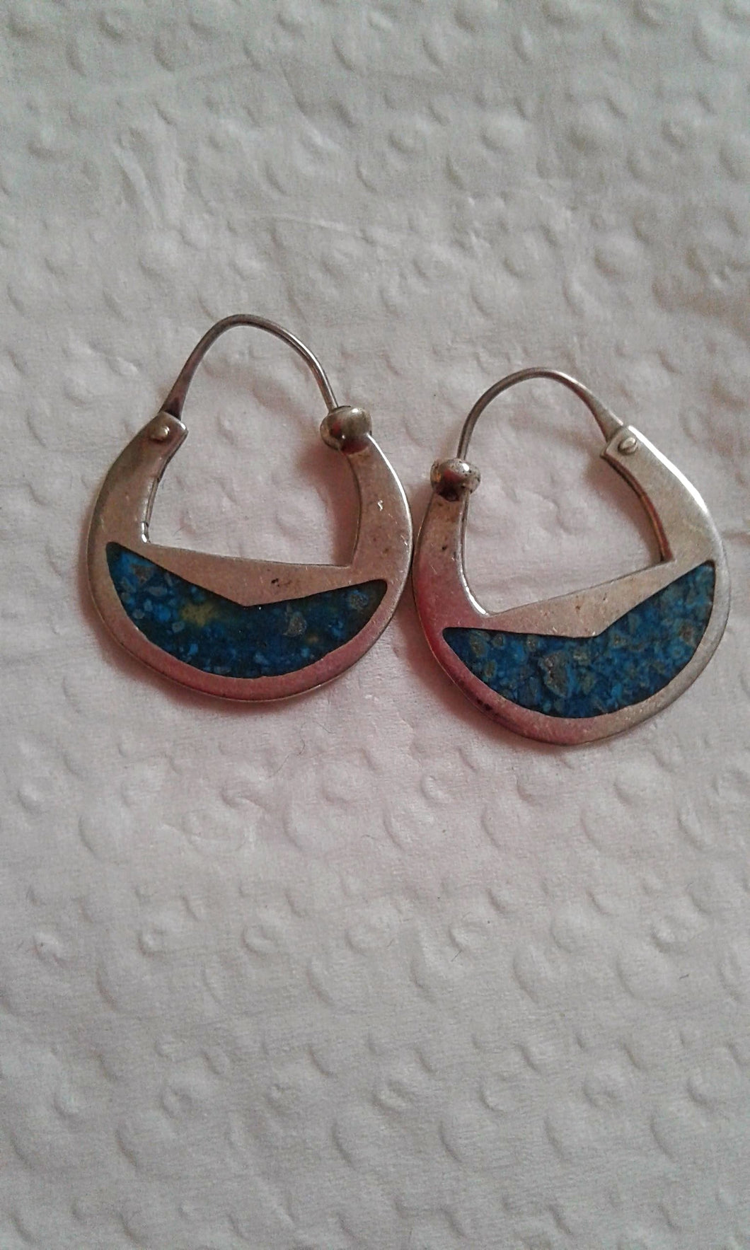 .925 Sterling Silver & Turquoise Inlay Earrings