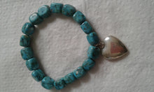 Turquoise Stretch Bracelet w/.925 Sterling Silver Heart Charm