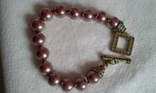 Heidi Daus Faux Pearl and Crystal Toggle Bracelet - Bronze Colored
