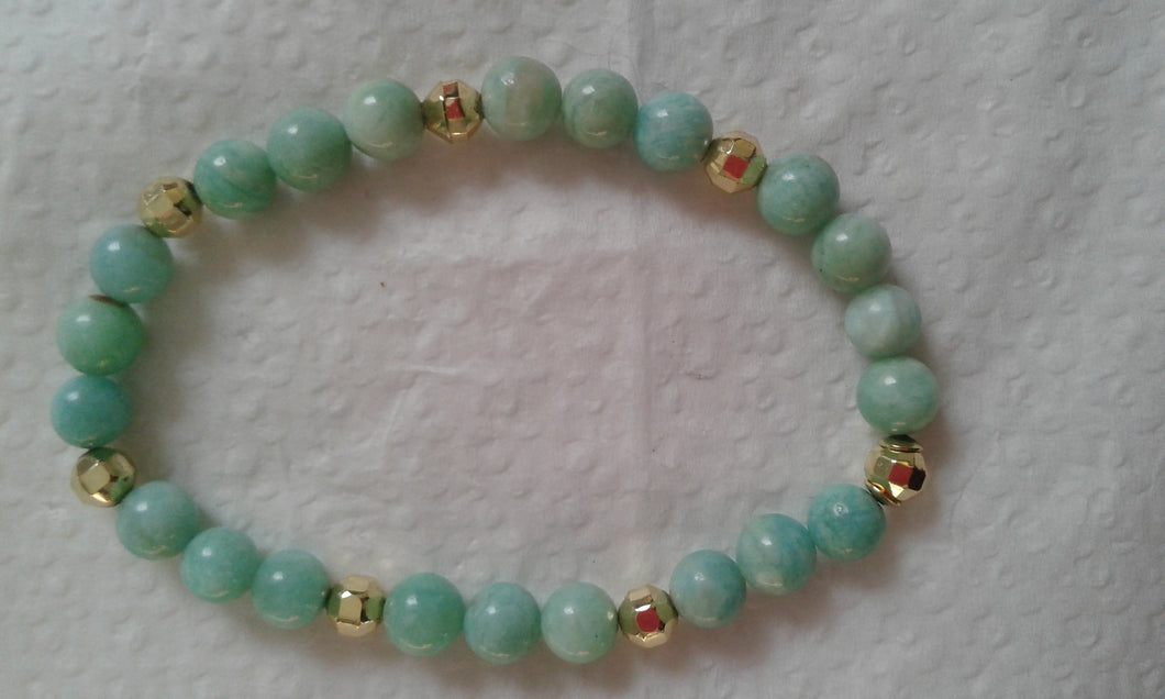 Genuine Bluish Green Modern Amazonite Small Bead Stretch Bracelet