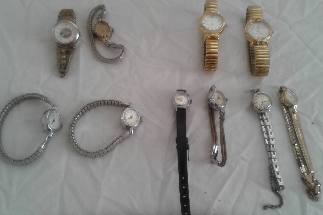 Lot of 11 Vtg Watches, Designer & Brandname, Bernard Hurtig, Bulova, Timex, etc.