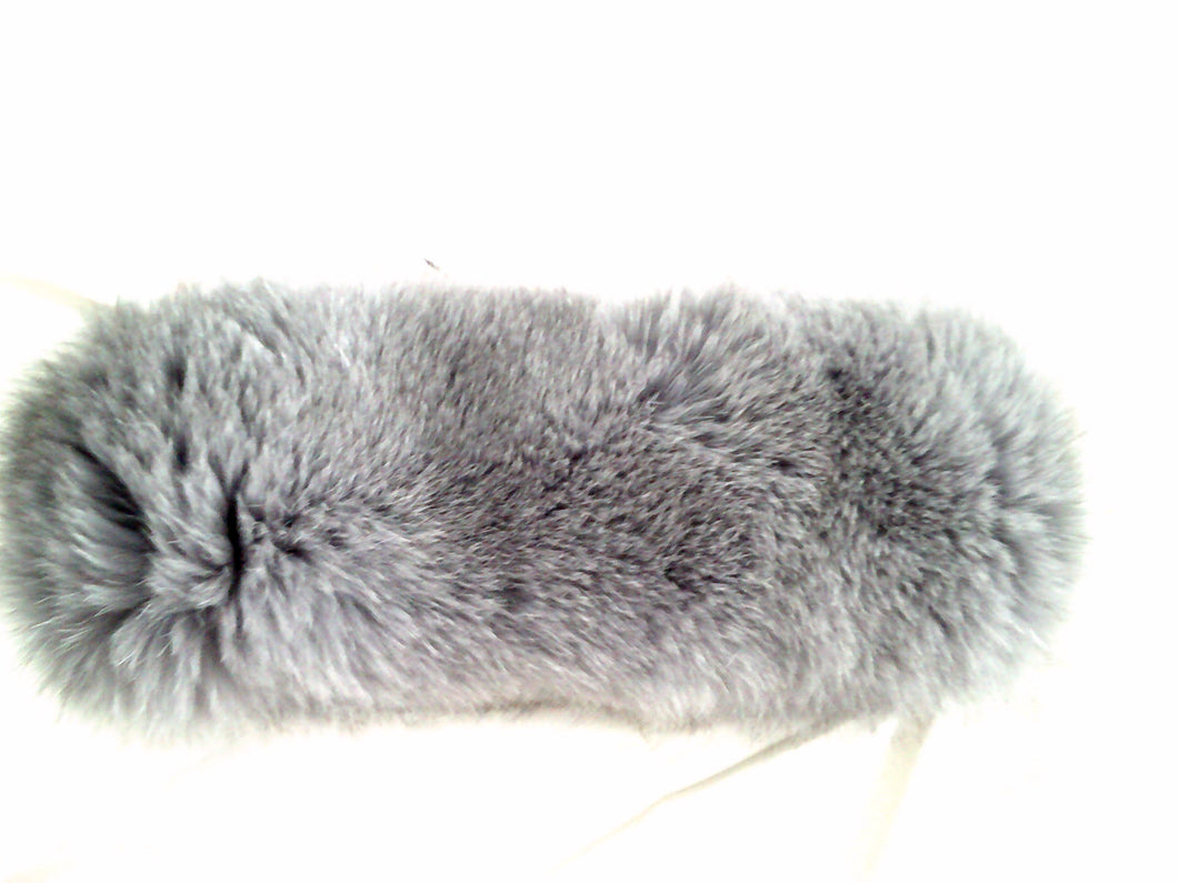 Silver/Grey Fox Head Wrap - Plush!