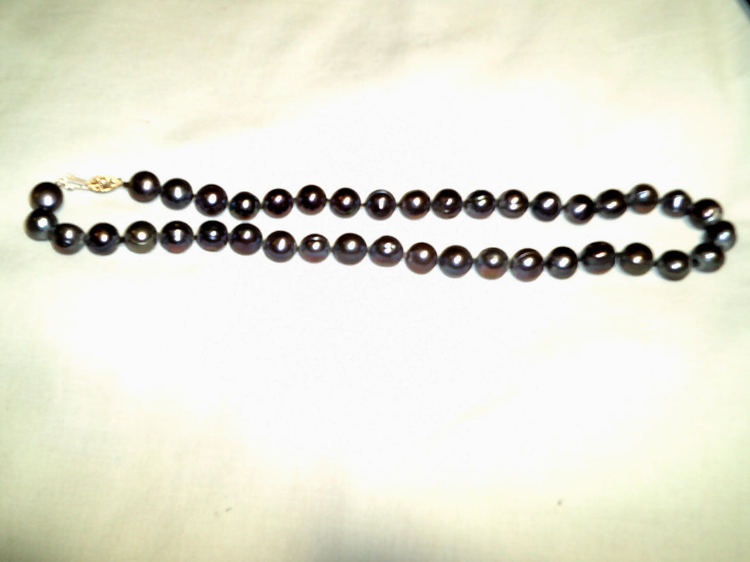 19' 8-10mm Tahitian Black Baroque Pearl Necklace - Beautiful!