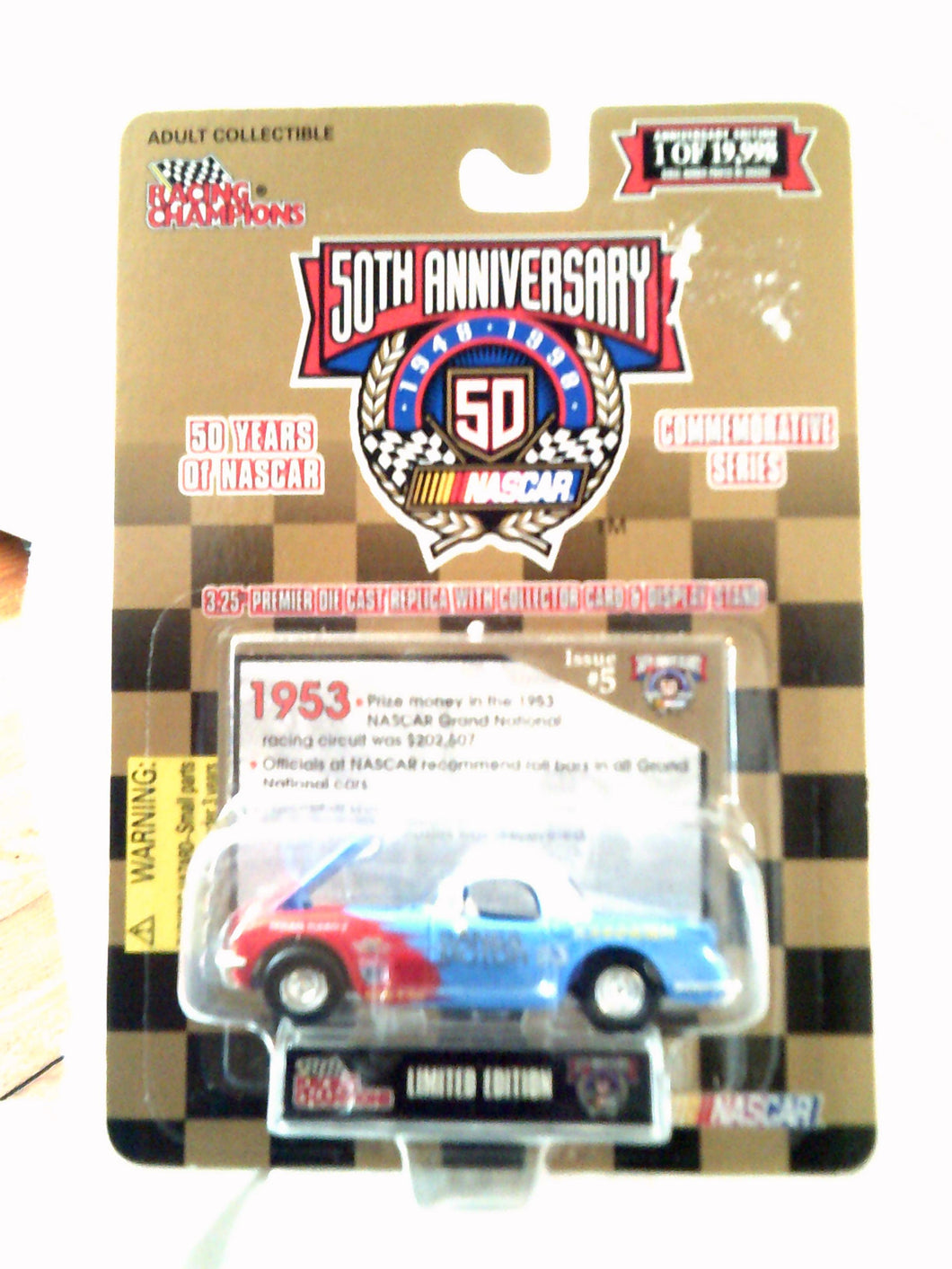 Nascar 50th Anniversary Die Cast Commemorative Gold Series Car - New