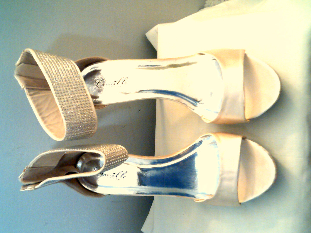 Camille Satin Taupe High Heel Formal Shoes.  Stunning!