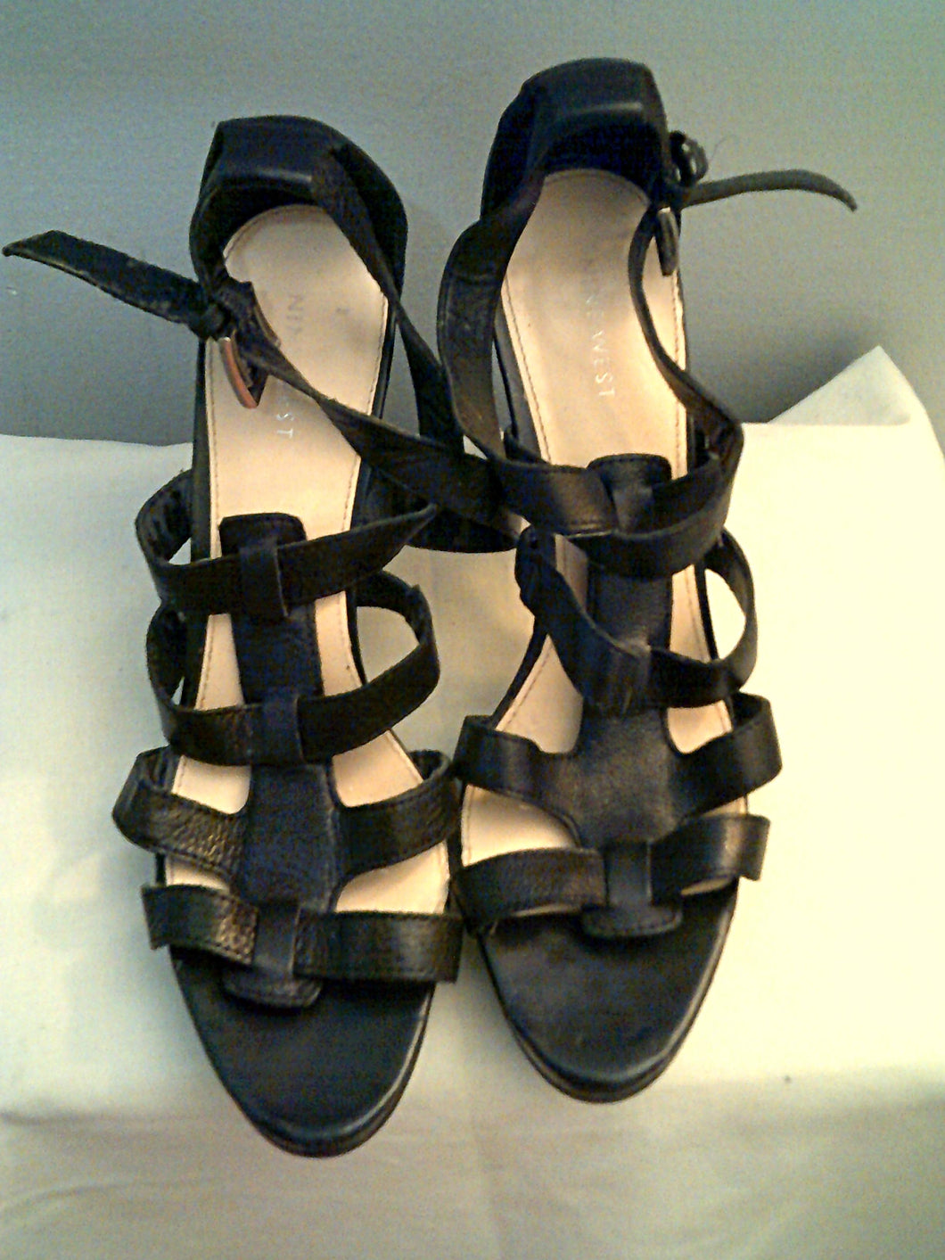 Nine West Black High Heel Leather Sandals.  Sexy!