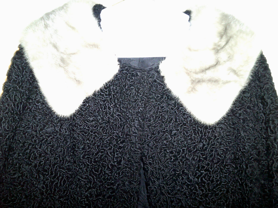 Vintage Baby Lamb Wool Coat w/Silver Mink Collar - Beautiful!