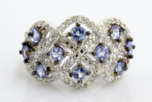 .925 STERLING SILVER 2.5 CTW TANZANITE DIAMOND RING