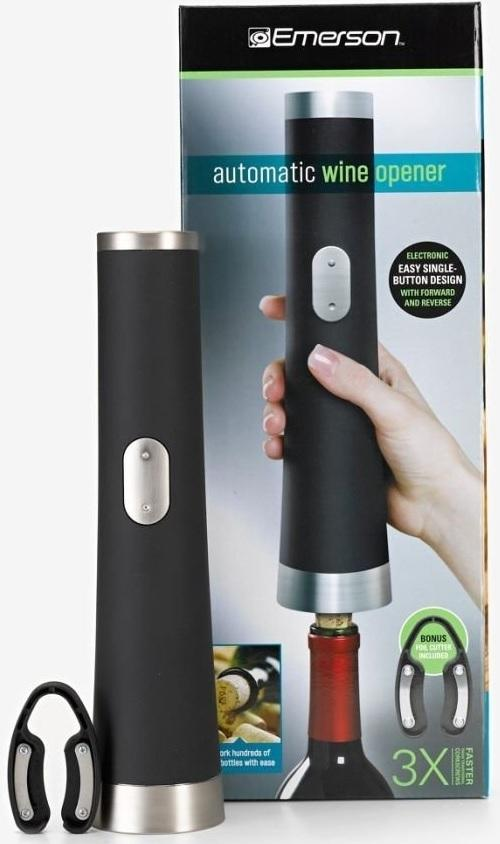 Emerson Automatic Wine Opener Electronic - Easy Single Button Design Bonus Item