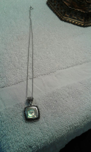 .925 STERLING SILVER AND MARCASITE PENDANT NECKLACE