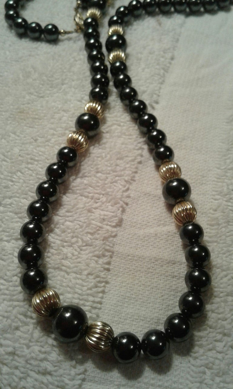 NATURAL BLACK AGATE BEADS