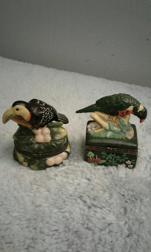 TWO BEAUTIFUL PELICAN TRINKET BOXES