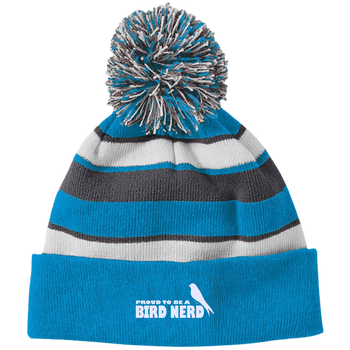 223835 Holloway Striped Beanie with Pom birding birdnerd birdwatching