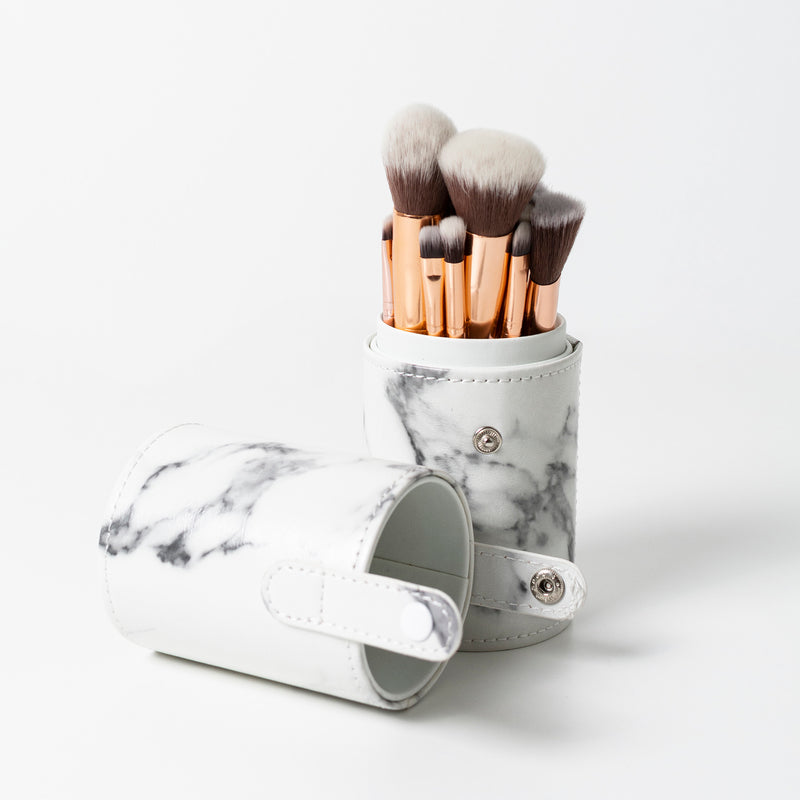 Cased White Marble Brush Set