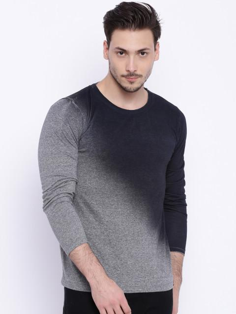 Daneaxon Grey & Black Round Neck T-shirt