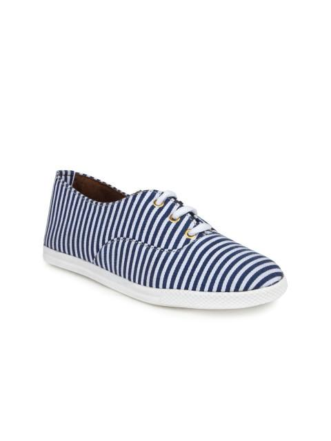 Scamanus White & Blue Striped Casual Shoes