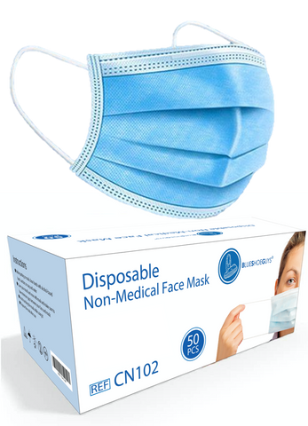 Blue Shoe Guys Safety Masks - 3 Layer Disposable Protective Face Masks with Nose Clip and Ear Loops (Box of 50) - Blue Shoe Guys