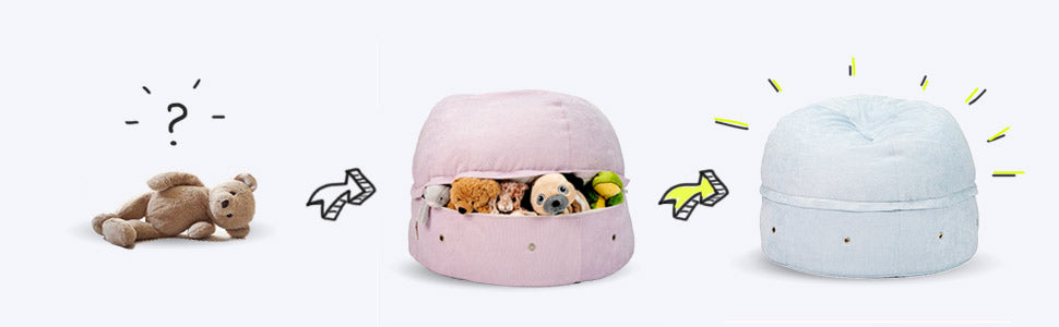 Toy Storage Bean bag Visual; teddy bear and plush toy storing and organizing