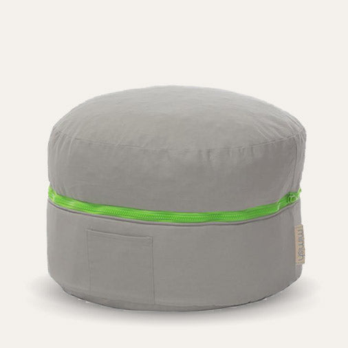 Exposed Zipper Toy Storage Pouf
