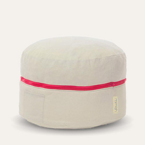 Exposed Zipper Cotton Storage Pouf