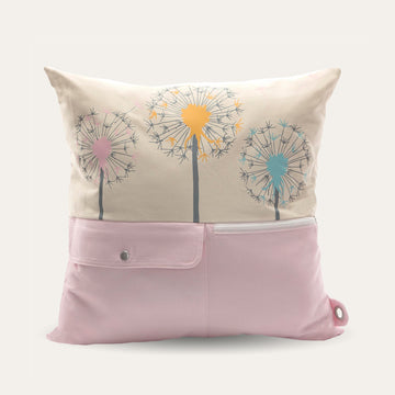 Wishes Pocket Decor Pillow with Storage and Floral Print