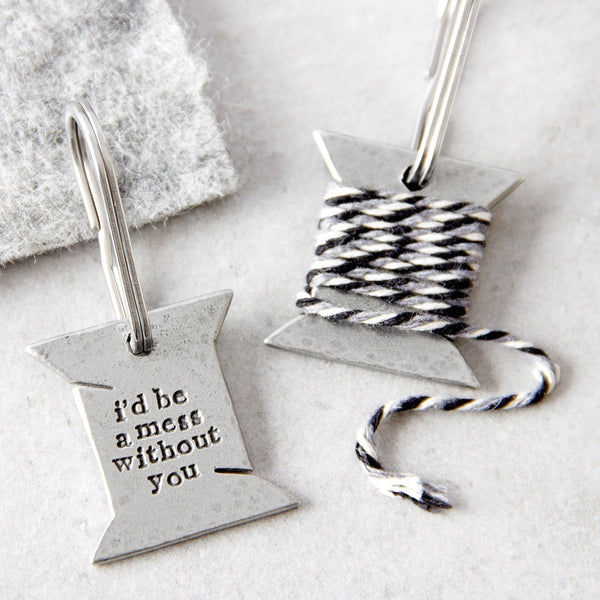 'I'd Be A Mess Without You' Bobbin Keyring