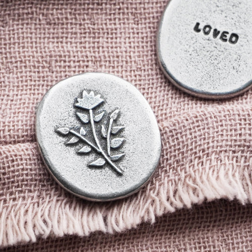 Floral 'Loved' Pocket Token