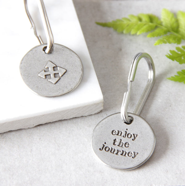 'Enjoy The Journey' Compass Keyring