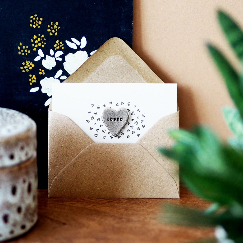 'Loved' Heart Tiny Token Card