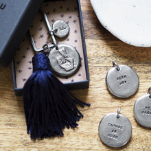 Load image into Gallery viewer, Motto Coin + Tassel Keyring