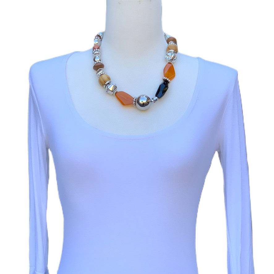 Wood Beads and Gemstone Necklace