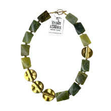 Gold & Green Serpentine Gemstone Necklace
