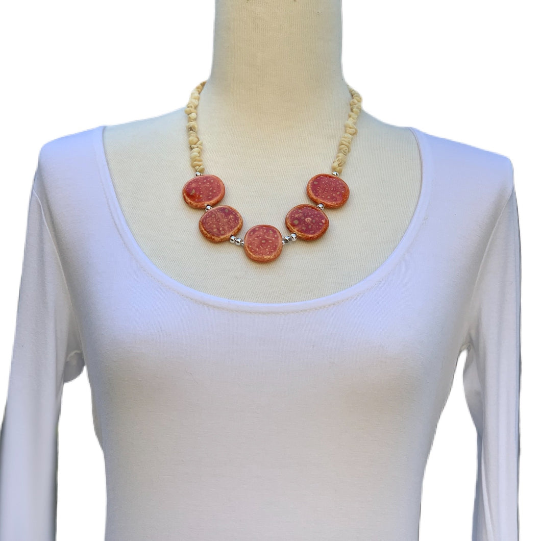 Orange Ceramic Necklace