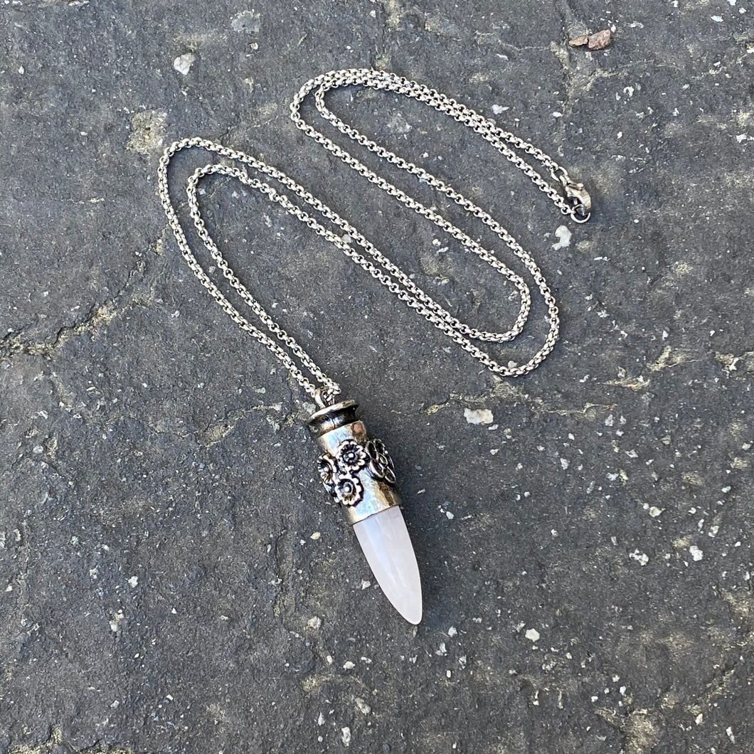 Rose Quartz Bullet Pendant Necklace