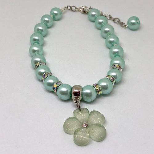 Made to Order Glass Pearls, Rhinestone & Acrylic Flower Kids & Puppies Jewelry
