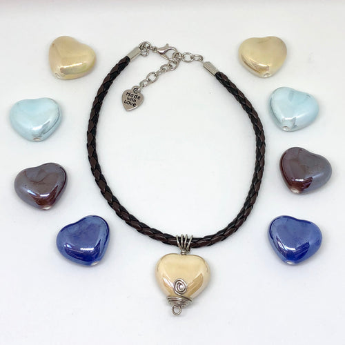 Wire-wrap Ceramic Hearts on a Genuine Leather Rope 18""
