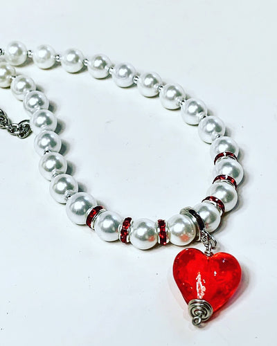 Red Heart & Pearls Necklace