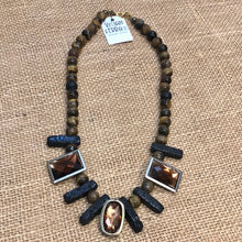 Tigers Eyes & Lava Stone Statement Necklace Set