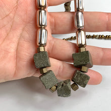 Long brass Pyrite Necklace