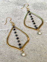 Gold Hoop & Dangling Crystals Earrings