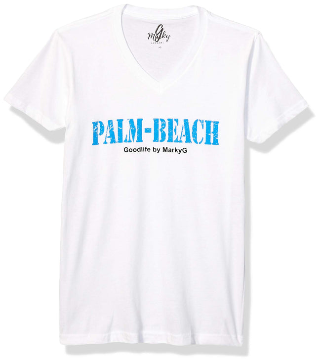 Marky G Apparel Men's Palm Beach Graphic Printed Premium Tops Fitted Sueded Short Sleeve V-Neck T-Shirt - Clementine Apparel