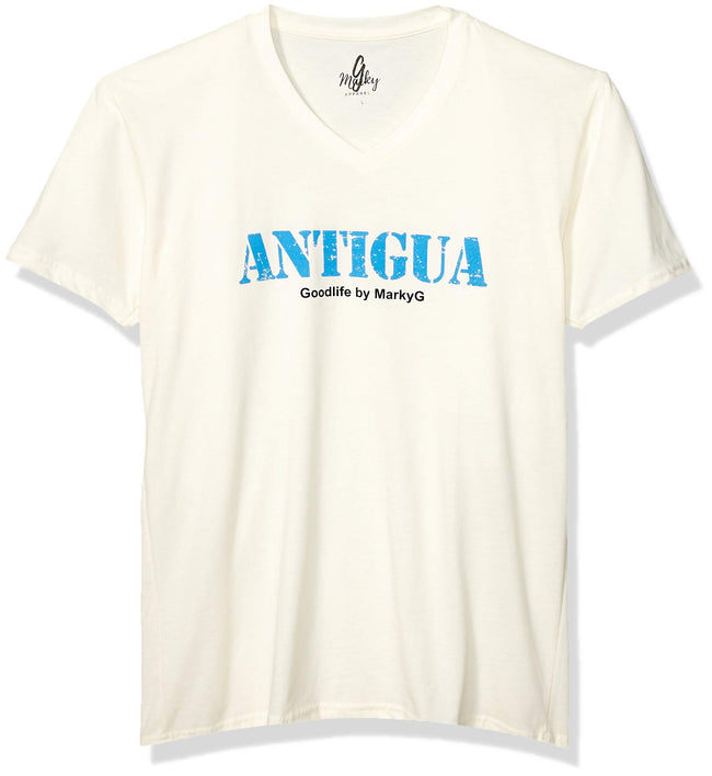 Marky G Apparel Men's Antigua Graphic Printed Premium Tops Fitted Sueded Short Sleeve V-Neck T-Shirt - Clementine Apparel