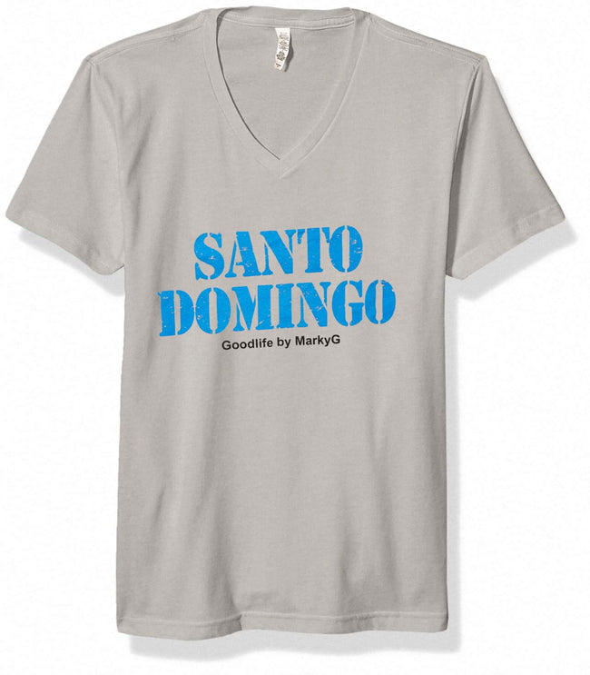 Marky G Apparel Men's Santo Domingo Graphic Printed Premium Tops Fitted Sueded Tops Short Sleeve V-Neck T-Shirt - Clementine Apparel