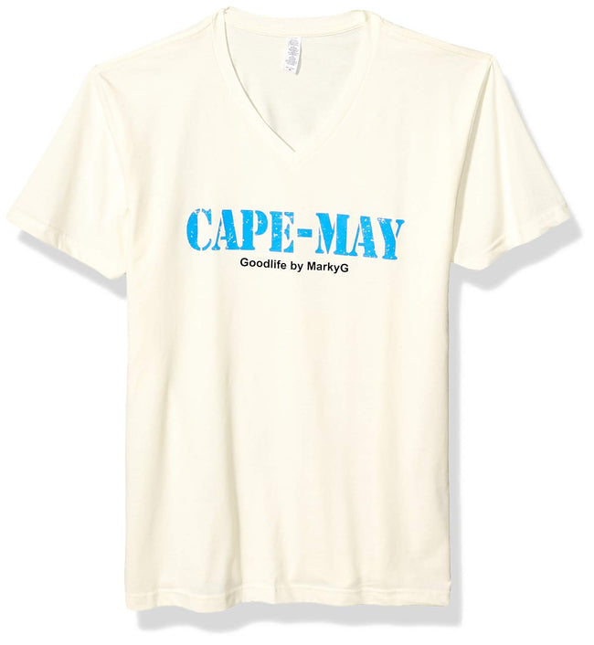 Marky G Apparel Men's Cape May Graphic Printed Premium Tops Fitted Sueded Short Sleeve V-Neck T-Shirt - Clementine Apparel