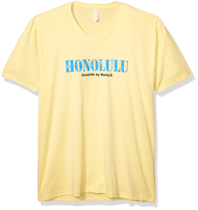 Marky G Apparel Men's Honolulu Graphic Printed Premium Tops Fitted Sueded Short Sleeve V-Neck T-Shirt - Clementine Apparel